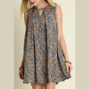 Umgee | Paisley Keyhole Mini Tunic Dress | Size S